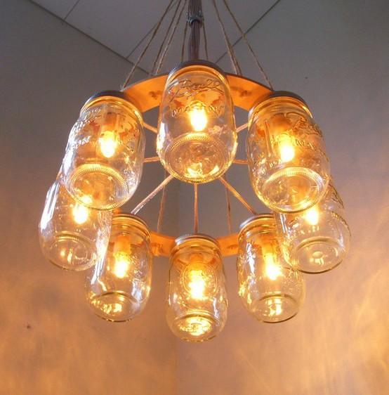 Mason Jar Chandelier: Wedding Reception Decoration Ideas